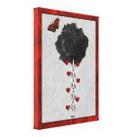 Color de rosa negro del amor impresiones en lona estiradas