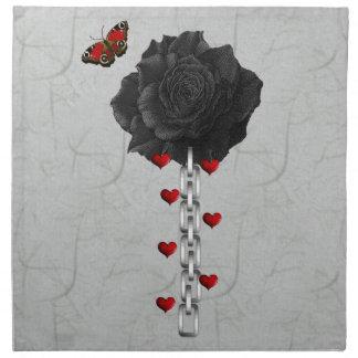 Color de rosa negro del amor servilleta de papel