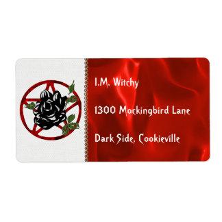 Color de rosa negro y Pentagram Etiqueta De Envío
