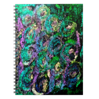 Color de rosa oscuro floral abstracto libretas espirales