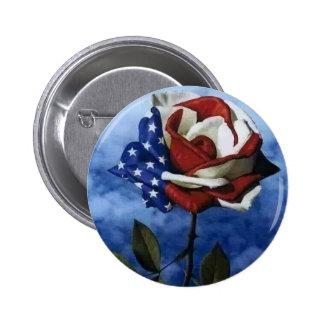Color de rosa patriótico pin redondo 5 cm