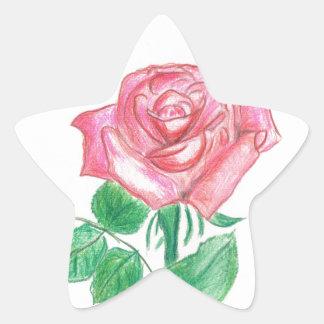 Color de rosa pegatina en forma de estrella
