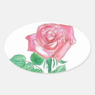 Color de rosa pegatina ovalada