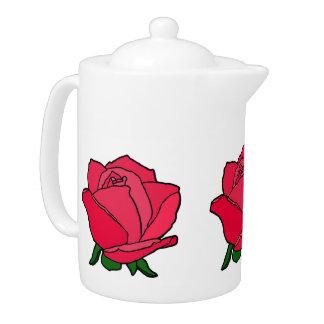Color de rosa polvoriento en tetera de la floració