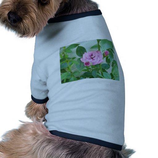 Color de rosa polvoriento camiseta con mangas para perro