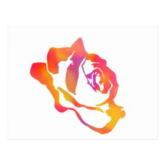 Color de rosa psicodélico postal
