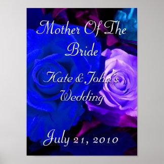Color de rosa púrpura azul poster
