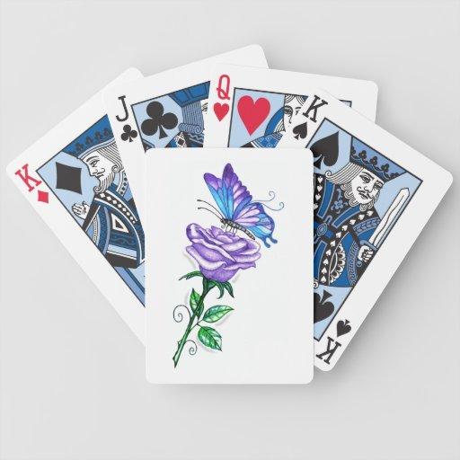 Color de rosa púrpura con la mariposa baraja de cartas