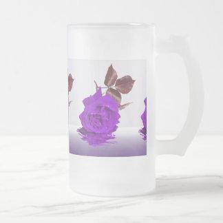 Color de rosa púrpura de fibro taza cristal mate