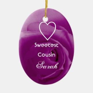 Color de rosa púrpura del primo más dulce con el adorno ovalado de cerámica