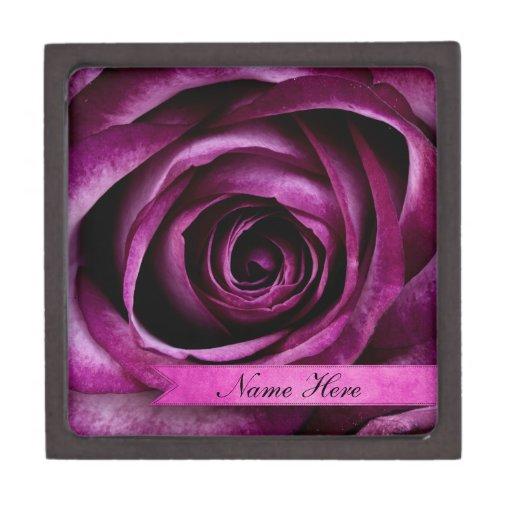 Color de rosa púrpura dramático elegante hermoso c cajas de recuerdo de calidad