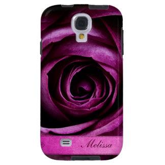 Color de rosa púrpura dramático elegante hermoso c funda galaxy s4