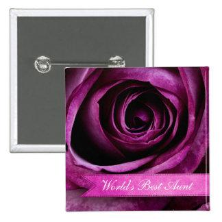 Color de rosa púrpura dramático elegante hermoso c pin cuadrado