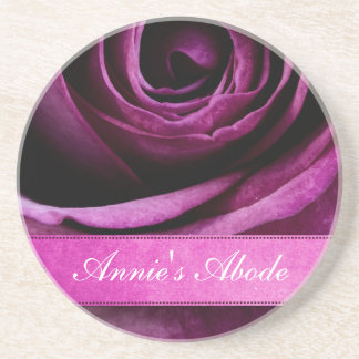 Color de rosa púrpura dramático elegante hermoso c posavasos manualidades