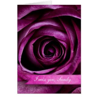 Color de rosa púrpura dramático elegante hermoso tarjeta de felicitación