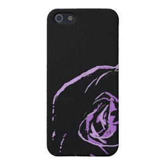 color de rosa púrpura en negro iPhone 5 fundas