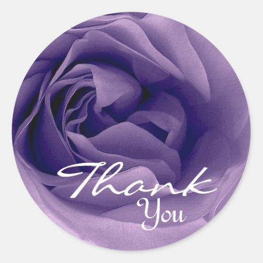 Color de rosa PÚRPURA - gracias sello del sobre Pegatina Redonda