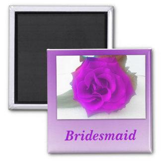 Color de rosa púrpura imán cuadrado