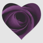 Color de rosa púrpura pegatina corazón personalizadas