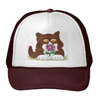 Color de rosa púrpura y gatito gorros