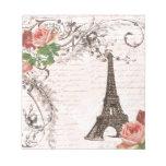 Color de rosa rojo y rosado de la torre Eiffel Blocs De Papel