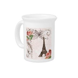 Color de rosa rojo y rosado de la torre Eiffel Jarrones
