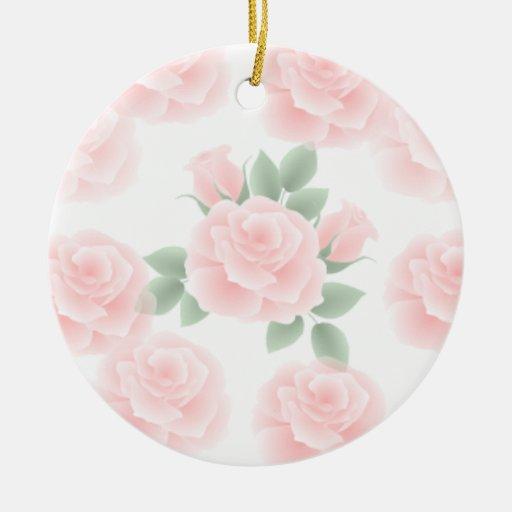 Color de rosa romántico adornos de navidad