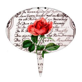 Color de rosa romántico palillos de tarta