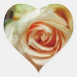 Color de rosa romántico pegatinas de corazon personalizadas