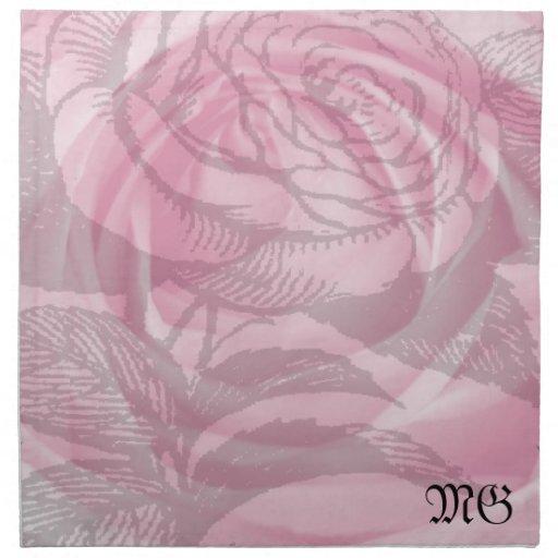 Color de rosa romántico rosado dentro de una servi servilletas de papel