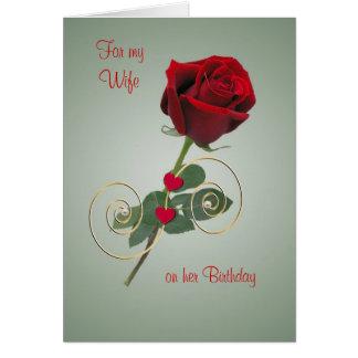 Color de rosa romántico y corazón - tarjeta de