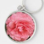 Color de rosa rosado bonito llavero personalizado