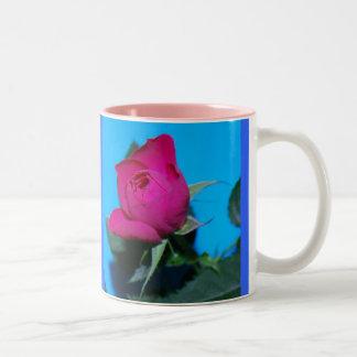 Color de rosa rosado bonito tazas de café