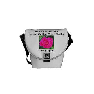 Color de rosa rosado brillante bolsa de mensajeria