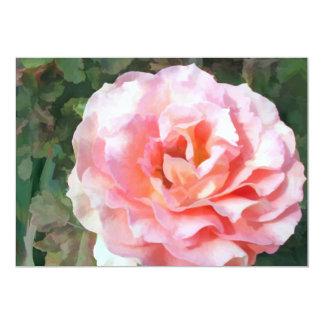 """Color de rosa rosado completamente floreciente invitación 5"""" x 7"""""""
