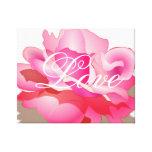 Color de rosa rosado con amor impresiones en lona