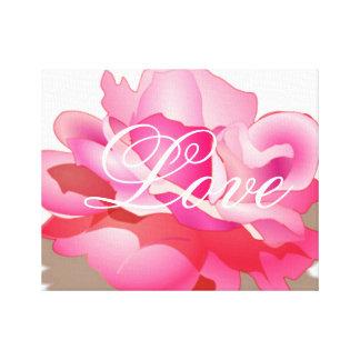 Color de rosa rosado con amor lona estirada galerias