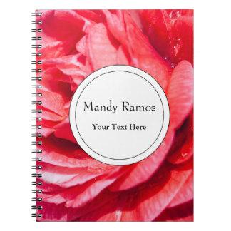 Color de rosa rosado con descensos del agua, cuadernos