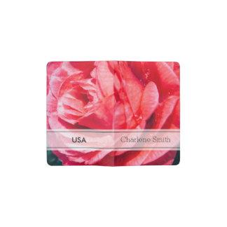 Color de rosa rosado con descensos del agua, funda para libreta y libreta pequeña moleskine