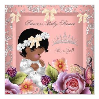 Color de rosa rosado coralino del chica invitación 13,3 cm x 13,3cm
