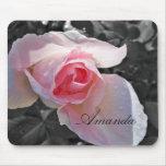 Color de rosa rosado de B&W Alfombrilla De Ratones
