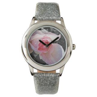 Color de rosa rosado de B&W Relojes De Pulsera