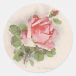 Color de rosa rosado de Catherine Klein Pegatina Redonda