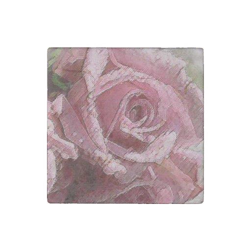 Color de rosa rosado de la acuarela - imán de imán de piedra