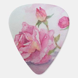 Color de rosa rosado de la acuarela púa de guitarra