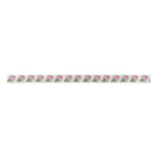 Color de rosa rosado de la belleza en cinta gris lazo de raso