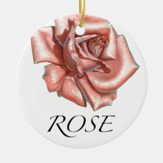 Color de rosa rosado adorno redondo de cerámica