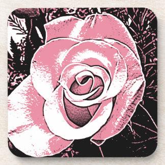 Color de rosa rosado del dibujo animado posavasos de bebidas