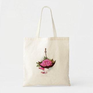 Color de rosa rosado del paraguas bolsa tela barata