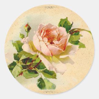 Color de rosa rosado del Victorian Pegatina Redonda